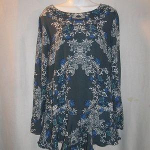 Free People  Floral Crepe V-Back Tunic Dress M